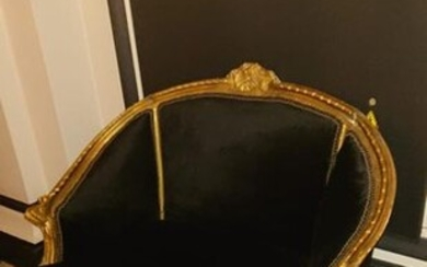 Small gilded wood and foliage carved basket sofa,...