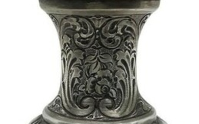 "Small silver vase, late 19th century. Punched ""Silver"