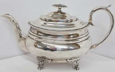 Sterling Silver Footed Teapot Lion Family Crest Antique