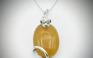 Sterling Silver Necklace & Yellow Jadeite Monkey