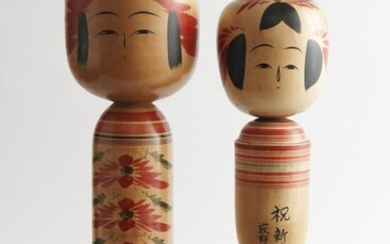 TWO LARGE VINTAGE WOODEN JAPANESE HAND PAINTED KOKESHI DOLLS, LEONARD JOEL LOCAL DELIVERY SIZE: SMALL