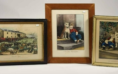 Three Currier & Ives Lithographs including Noah's