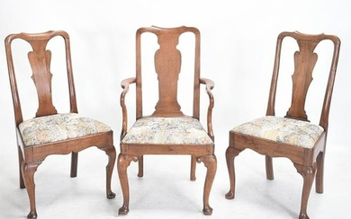 Three Queen Anne Walnut Chairs, one arm and two side