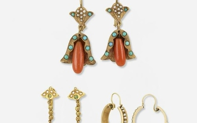 Three pairs of vintage earrings