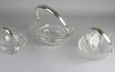 Three-part crystal with silver, 833/000, a round bowl
