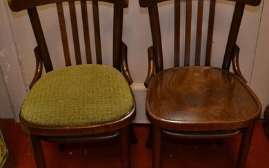 Twenty eight modern bentwood chairs, most with green covered...