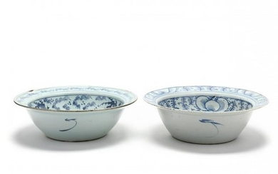 Two Large Antique Chinese Blue and White Bowls