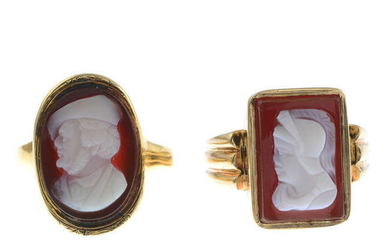 Two gold carved agate cameo signet rings.