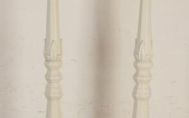 Two large wooden standing white lacquered candle
