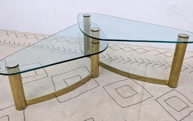 Two level Modernist Brass color coffee table. Mid Cent