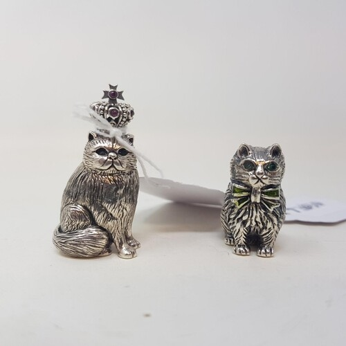 Two modern miniature silver coloured metal cat figures, 3 cm...