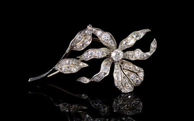 Victorian old cut diamond flower pendant brooch set in 14ct ...