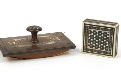 Victorian rosewood ink blotter with mother of pearl and