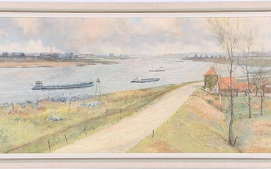 View of the Waal near Leeuwen, canvas 60x120 cm