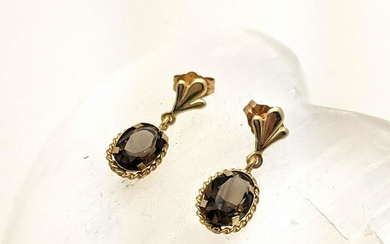 Vintage 14K Gold and Smoky Topaz Earrings