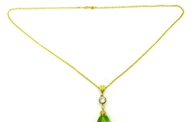 Vintage 14k Yellow Gold Chain Necklace Diamond Peridot