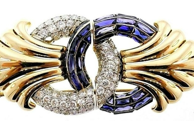 Vintage 18k Yellow Gold Diamond Sapphire Brooch Clip