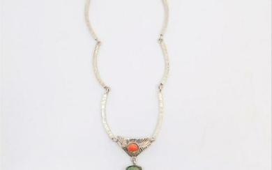 Vintage Sterling Silver and Apple Green Jade Necklace