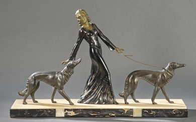 Woman with Greyhounds