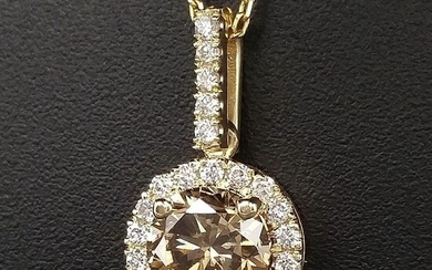 1.17ct Natural Fancy Intense Orangy Brown, Diamonds - 14 kt. Yellow gold - Pendant - ***No Reserve Price***
