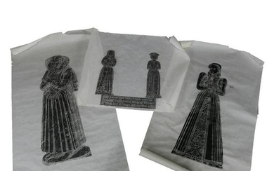 12 Vintage English Hand Rubbed Images, Medieval Graves
