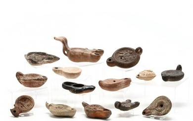 14 Roman-Style Ceramic Oil Lamps