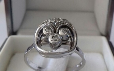 14 kt. White gold - Ring - 0.03 ct Diamond - Diamonds