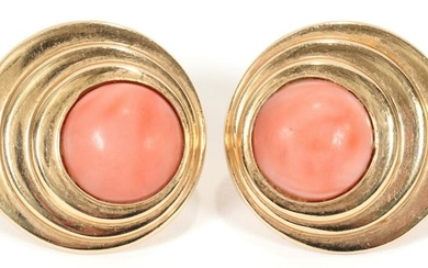 14KT YELLOW GOLD, CORAL PIERCED CLIP EARRINGS