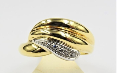 18 kt. Bicolour, White gold, Yellow gold - Ring - 0.10 ct Diamond