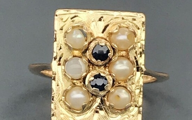 18 kt. South sea pearl, Yellow gold - Ring - 0.10 ct Sapphire