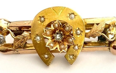 18 kt. Yellow gold - Brooch glass / pearl (river)