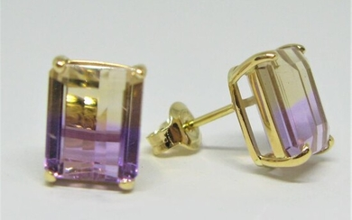 18 kt. Yellow gold - Earrings - 4.90 ct Ametrine