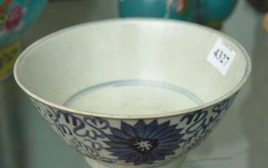 19TH CENTURY CHINESE BLUE & WHITE GLAZED BOWL, 6.5 CM HIGH, 14 CM DIAMETER