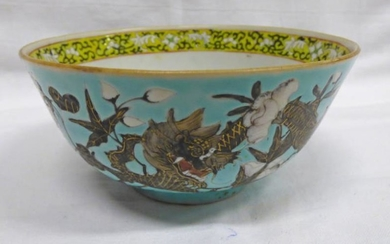 19TH CENTURY TURQUOISE CHINESE PORCELAIN BOWL DECORATED IN ENAMEL...