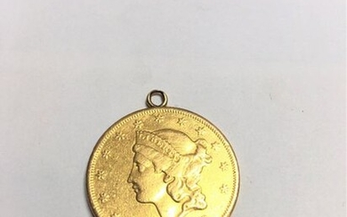 "20 gold coin ""Liberty Head - Double Eagle"" (1876). Mounted on 18k (750) yellow gold."