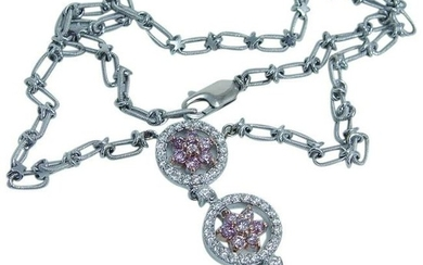 """2.00ct White and Pink Diamond Necklace 14K Gold 16"""""""