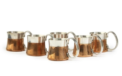Six Henning Koppel for Georg Jensen mixed-metal beer