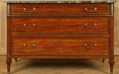 19TH C. LOUIS XVI STYLE BRONZE MARBLE TOP COMMODE