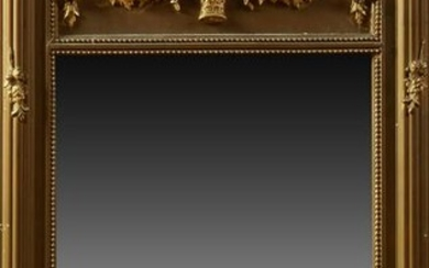 French Gilt and Gesso Overmantle Mirror, early 20th c.,