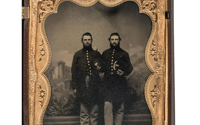 Two Civil War Half Plate Tintypes of Brothers-in-Law
