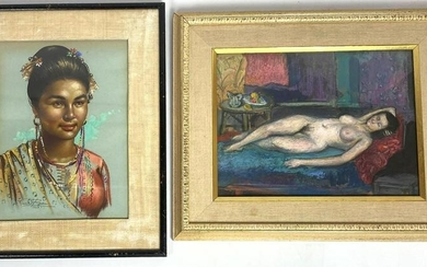 2pcs Paintings. Reclining nude signed PARAKIS and Poly