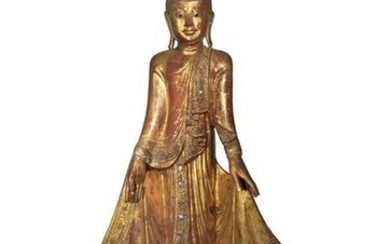 A BURMESE MANDALAY STYLE LACQUERED AND GILT WOOD F…