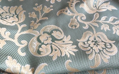 4m Damask Jacquard Fabric Marine green color - Textiles