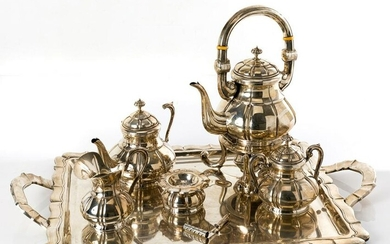 5-piece Spanish silver tea set and tray
