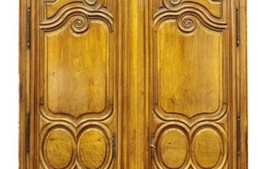 527- Moulded walnut cabinet with two doors, decorated...
