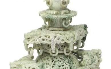61027: A Chinese Carved Jadeite Censer on Stand 24 x 12