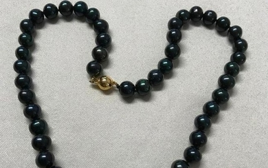 """8mm Black Tahitian Pearl 18"""" Necklace 14kt Gold Clasp"""