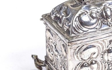 A 17th century Continental silver marriage casket, possibly ...