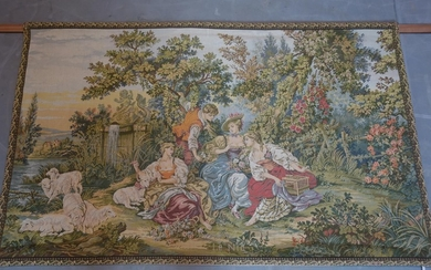 A 20th century French tapestry, 'Le Nid', depicting young la...