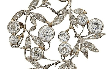 A Belle Epoque diamond brooch, designed as...
